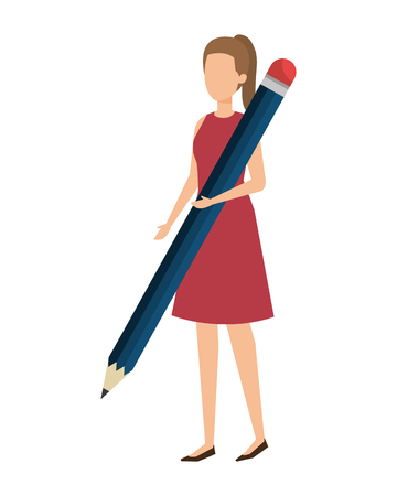 elegant businesswoman with pencil vector illustration design Ilustração