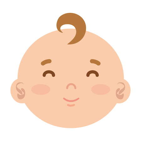 little male baby head character vector illustration design