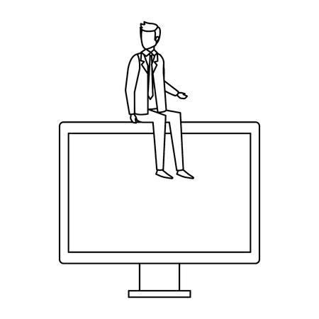 elegant businessman sitting in computer display vector illustration design Illustration