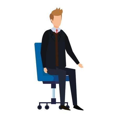 elegante uomo d'affari seduto in sedia da ufficio illustrazione vettoriale design Vettoriali