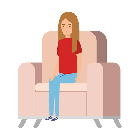little girl sitting in sofa character vector illustration design Illusztráció
