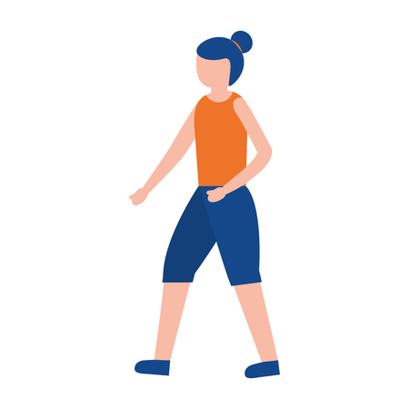sport woman activity on white background vector illustration
