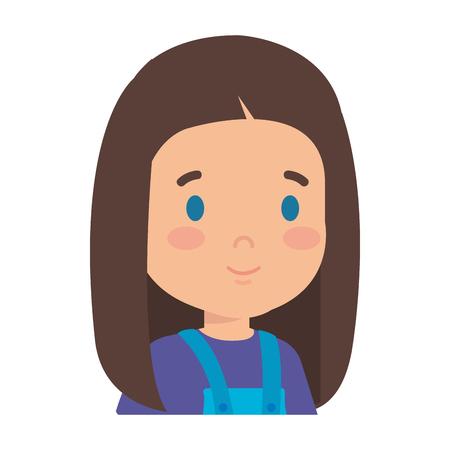 little girl kid character vector illustration design Çizim