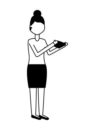 woman using mobile on white background vector illustration Illustration