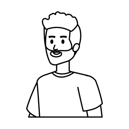 young man with beard character vector illustration design Vettoriali