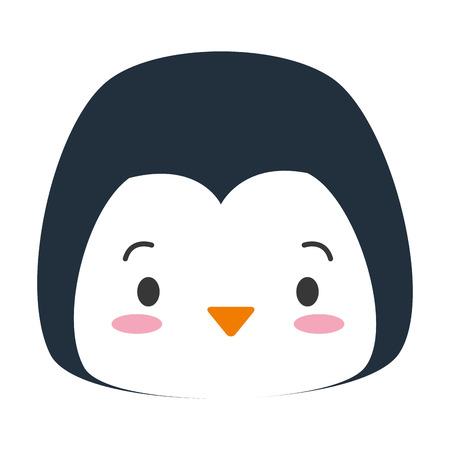 cute penguin face cartoon vector illustration design