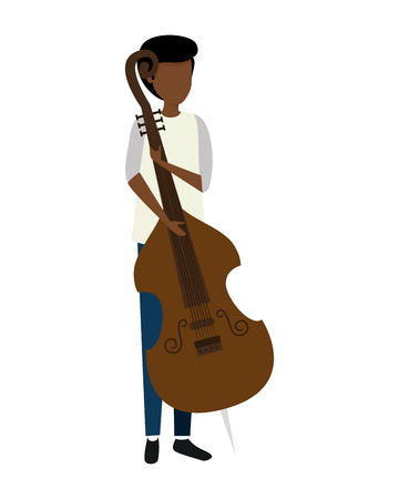 man playing cello character vector illustration design