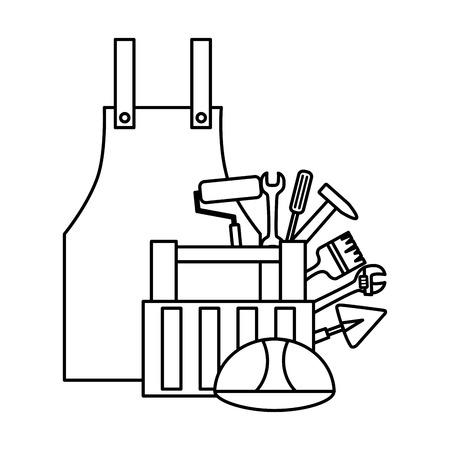 apron kit helmet construction tool vector illustration