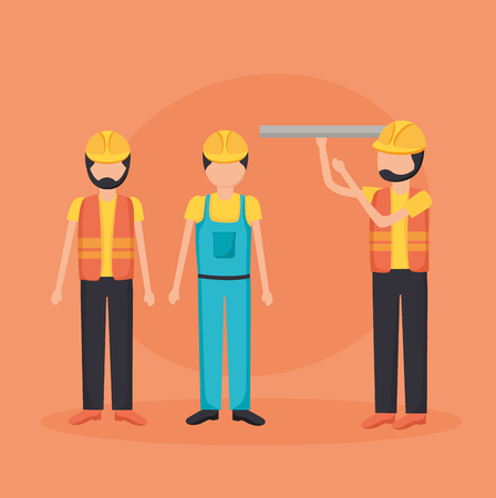 construction workers with blueprint tool vector illustration Imagens - 122833798