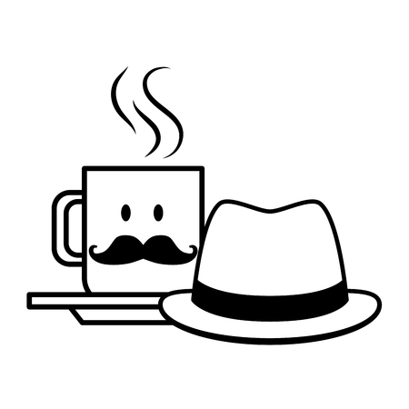 fathers day cup and hat mustache vector illustration design Imagens - 122833874