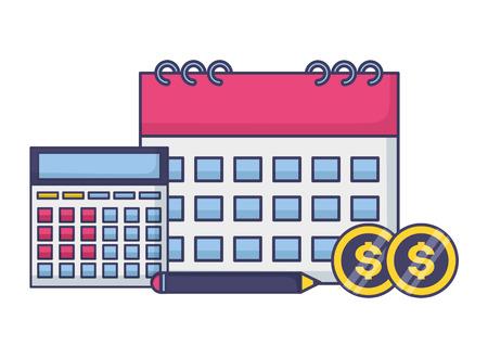 tax payment calendar calculator money vector illustration