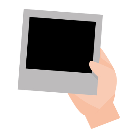 hand holding photo frame blank vector illustration design Ilustracja