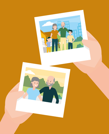 hands with photos familiy day vector illustration design Stock fotó - 122833930