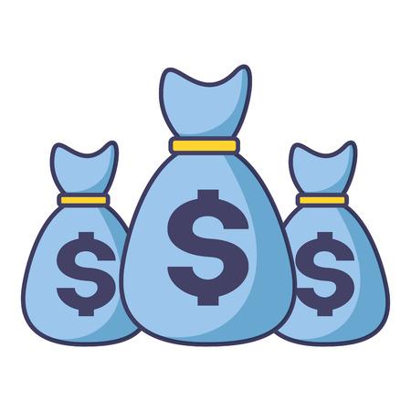 Sacs d'argent épargne monnaie design vector illustration Vecteurs