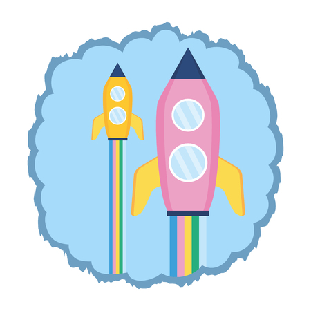 launch rockets spaceship on white background vector illustration Illusztráció