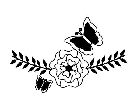flowers butterfly leaves foliage decoration vector illustration Banco de Imagens - 122833966