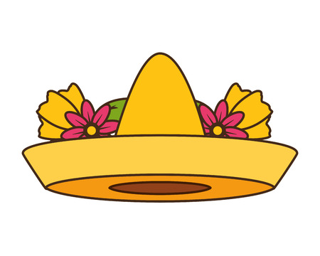 mexican hat traditional flowers on white background vector illustration