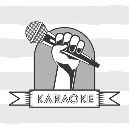 hand holding microphone karaoke retro style vector illustration