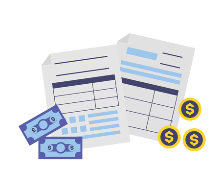 tax payment documents banknote coins money vector illustration Çizim