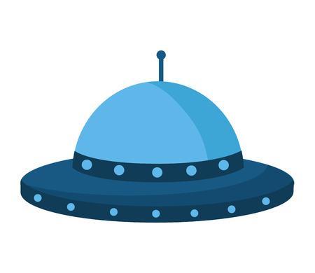 UFO-Raumschiff auf weißem Hintergrund-Vektor-Illustration
