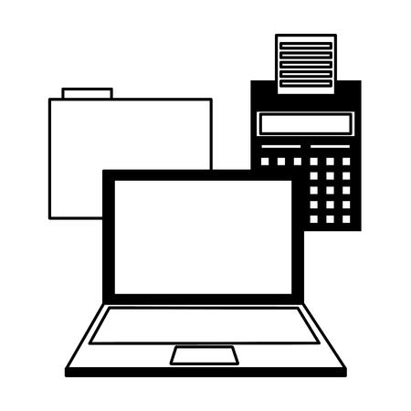 laptop calculator folder file tax payment vector illustration