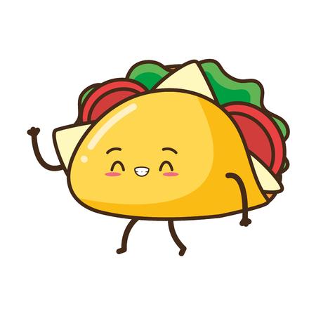 Kawaii lindo taco ilustración de vector de dibujos animados de comida rápida Ilustración de vector