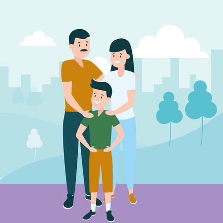 dad mom and son vector illustration design