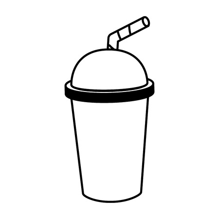 soda cup with straw on white background vector illustration