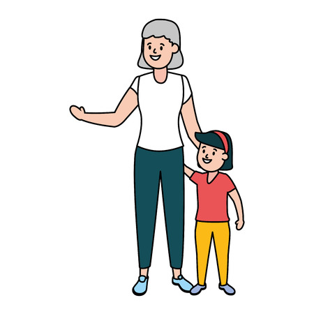 grandma with granddaughter family vector illustration design  イラスト・ベクター素材