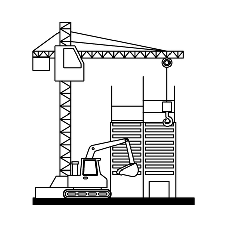 building construction crane bulldozer tools vector illustration Illusztráció