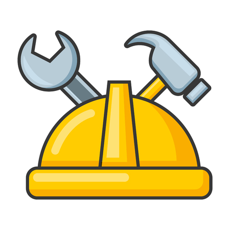 helmet wrench and hammer on white background vector illustration