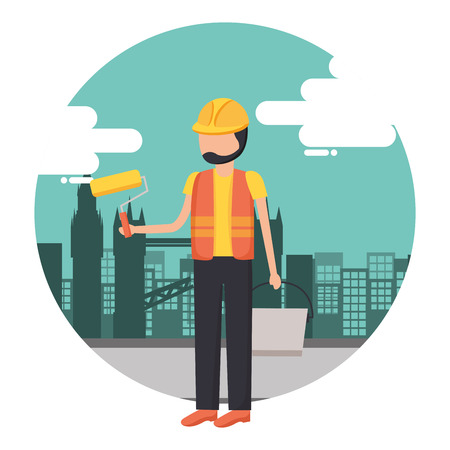 worker construction tool city background vector illustration Illustration