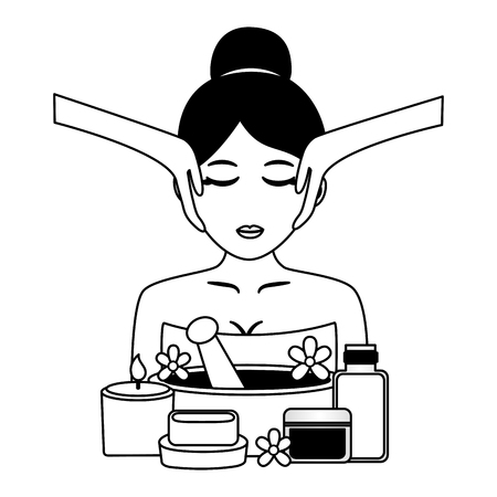 woman facial massage cosmetics and soap spa treatment therapy vector illustration 写真素材 - 122834139