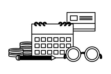 calendar bank card money eyeglasses pencil tax payment vector illustration Illustration