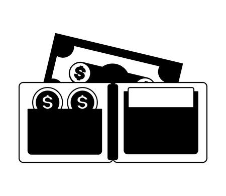 wallet banknote coins tax payment vector illustration Иллюстрация