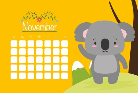 cute koala animal calendar cartoon vector illustration