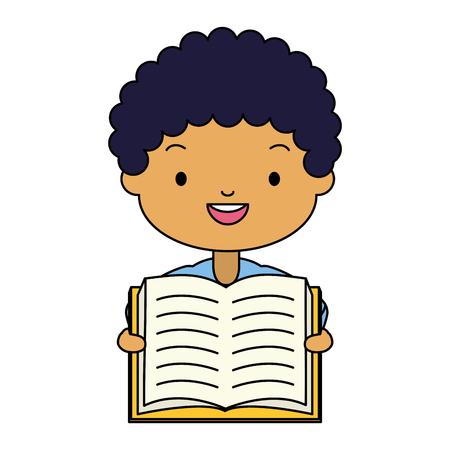 boy holding textbook - world book day vector illustration Standard-Bild - 122834166