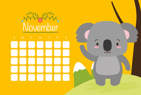 cute koala animal calendar cartoon vector illustration