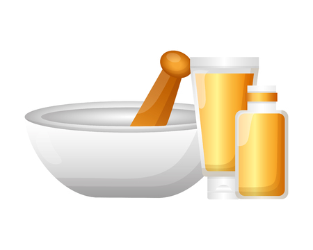 tazón de aceite esencial cosméticos tratamiento de spa terapia ilustración vectorial