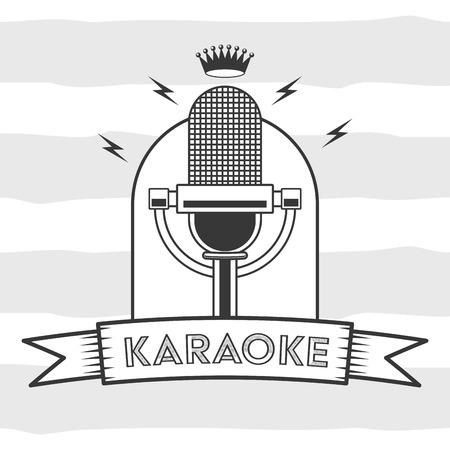 microphone karaoke retro style background vector illustration 矢量图像