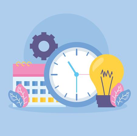 Ilustración de vector de engranaje de tiempo de bombilla de reloj de calendario