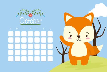 cute fox animal calendar cartoon vector illustration