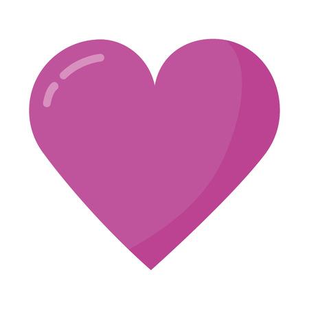 pink love heart romantic white background vector illustration