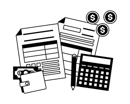 tax payment document calculator wallet money vector illustration Standard-Bild - 122834238