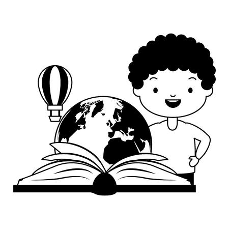 boy reading textbook travel - world book day vector illustration