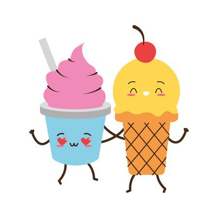 kawaii ice cream friendly fast food cartoon vector illustration Banque d'images - 122834254