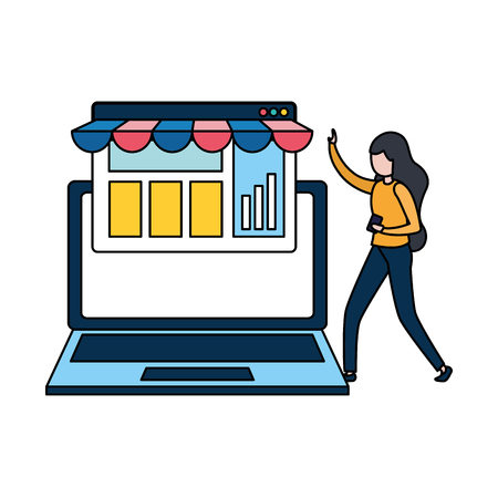woman with laptop computer avatar character vector illustration desing Illustration