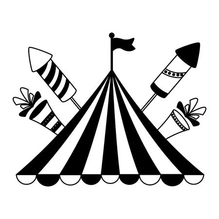 carnival tent flag rocket fireworks vector illustration design Çizim