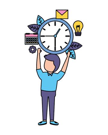 businessman holding clock time work vector illustration