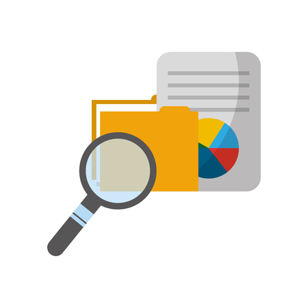 folder with document and magnifying glass vector illustration design Stockfoto - 122834356